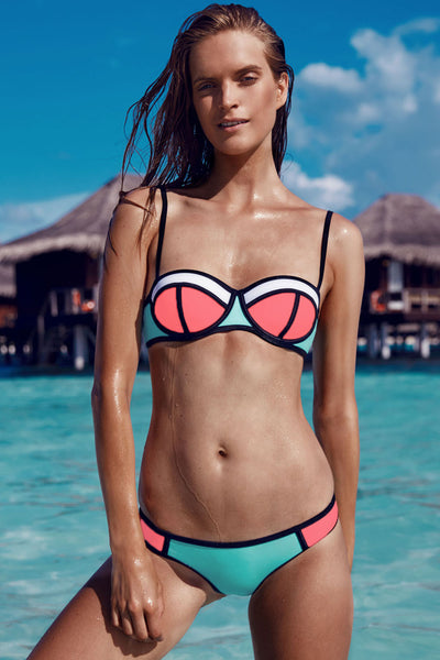 Blue Bright Color Block Chic Bikini Swimsuit