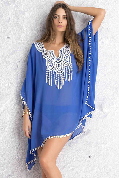 Royal Blue Crochet Lace Kimono-Style Silhouett Trim Sheer Chiffon Caftan