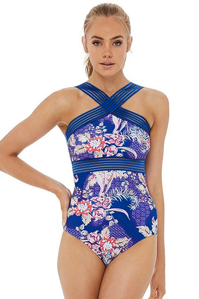 Blue Cross Elastic High Neck Beach Wear Her Fashion One Piece Swimwear