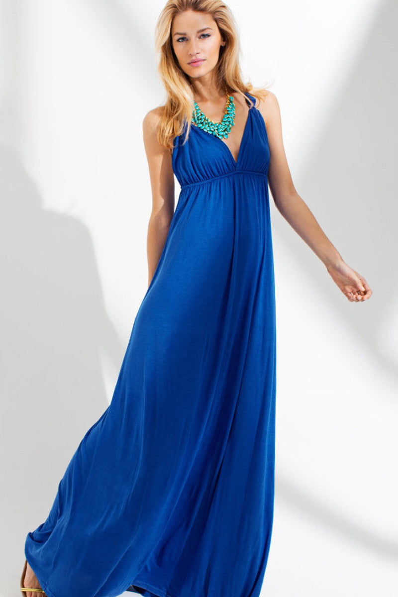 Blue Crossover V neck Design Cool Sleeveless Maxi Dress