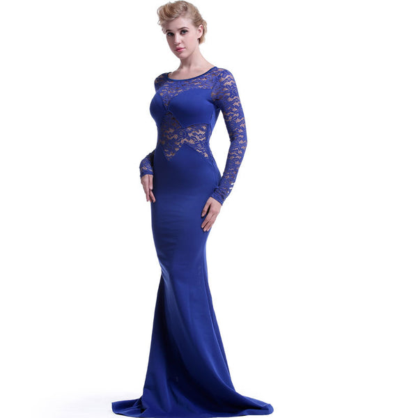 Blue Long Lace Sleeve Mermaid Princess Prom Dress