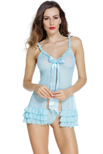 Light Blue Lovable Lingerie Blouse Sexy Babydoll Dress