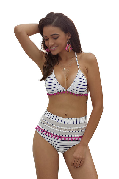 Rosy Mesh Insert Her Fashion Soft Swimming High Waist Bikini Swimwear