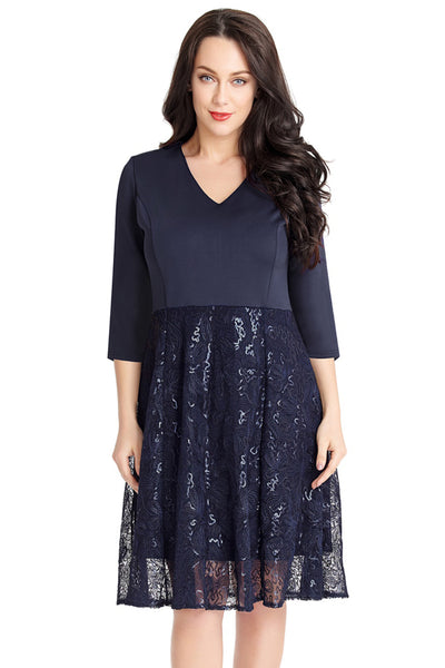 Blue Elegant Sequin Embossed Pattern Her Fashion A-line Skater Dress