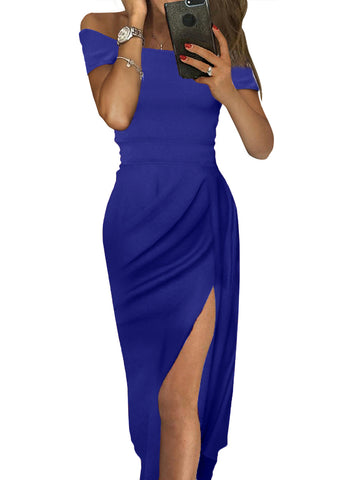 Blue Off Shoulder Her Fashion Short Sleeve Party Dress