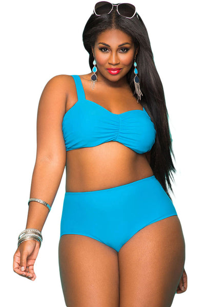 Blue Plus Size High Waist Sweetheart Neckline Bikini Swimsuit