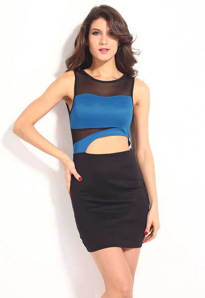 Blue Sexy Contrast-Colored Chic Patchwork Mesh Mini Dress