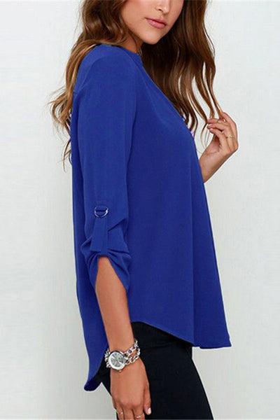 Royal Blue V-sionary Trendy Women V Neck Chiffon Blouse Top