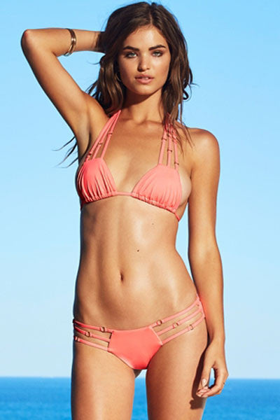 Blush Stylish Gold Ring Spaghetti Detail Bikini Swimsuit