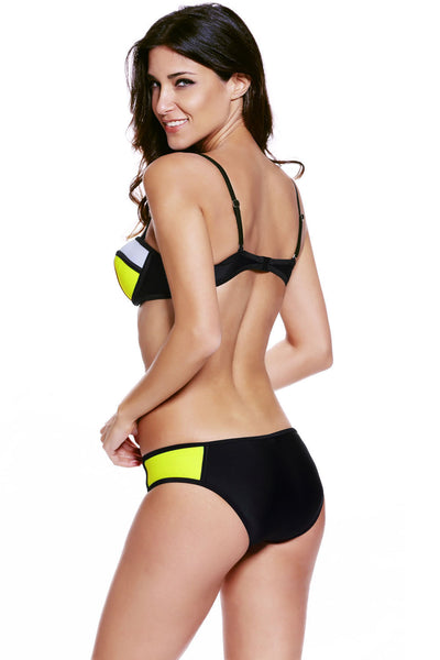 Boasting Bold Beautiful Black Yellow Color Bikini Swimsuit