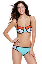 Boasting Bold Beautiful Cyan White Color Bikini Swimsuit