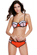 Boasting Bold Beautiful Orange Pink Color Bikini Swimsuit
