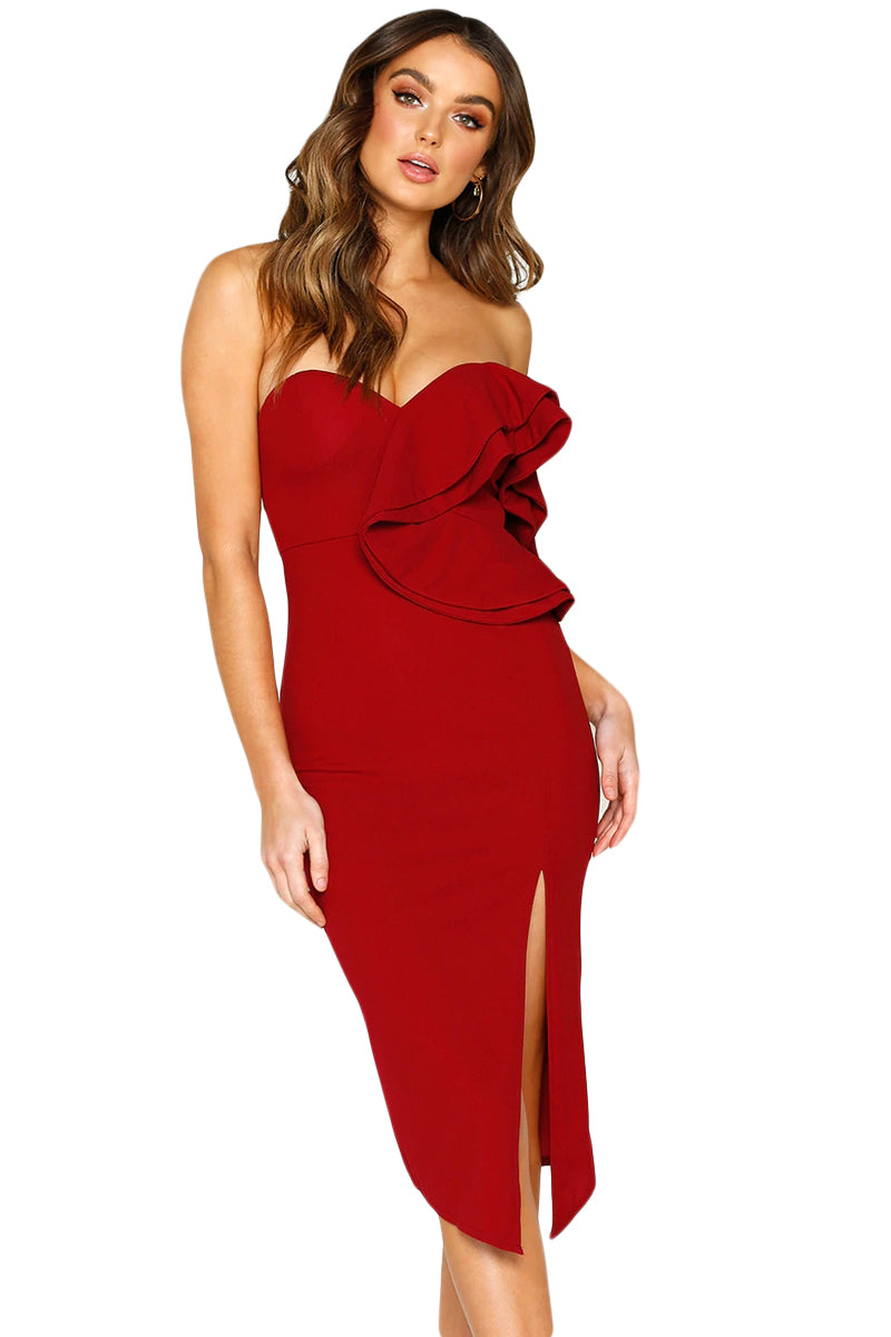 New Ladies Womens Off Shoulder Slit Front Bodycon Midi Dress Size 4,6,8,10,12