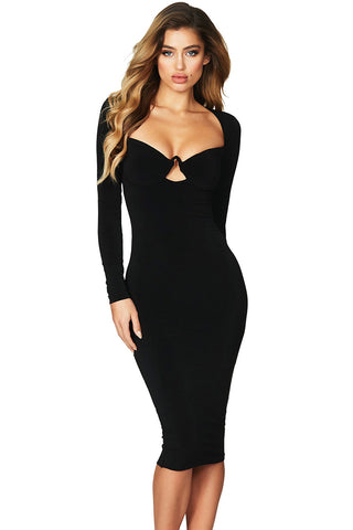 Bodycon Her Fashion Black Sexy Flirt Long Sleeve Midi Dress