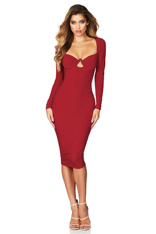 Bodycon Her Fashion Red Sexy Flirt Long Sleeve Midi Dress