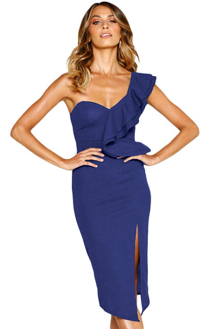 Bodycon Navy Asymmetric Ruffled One Shoulder Her Fashion Midi Dress