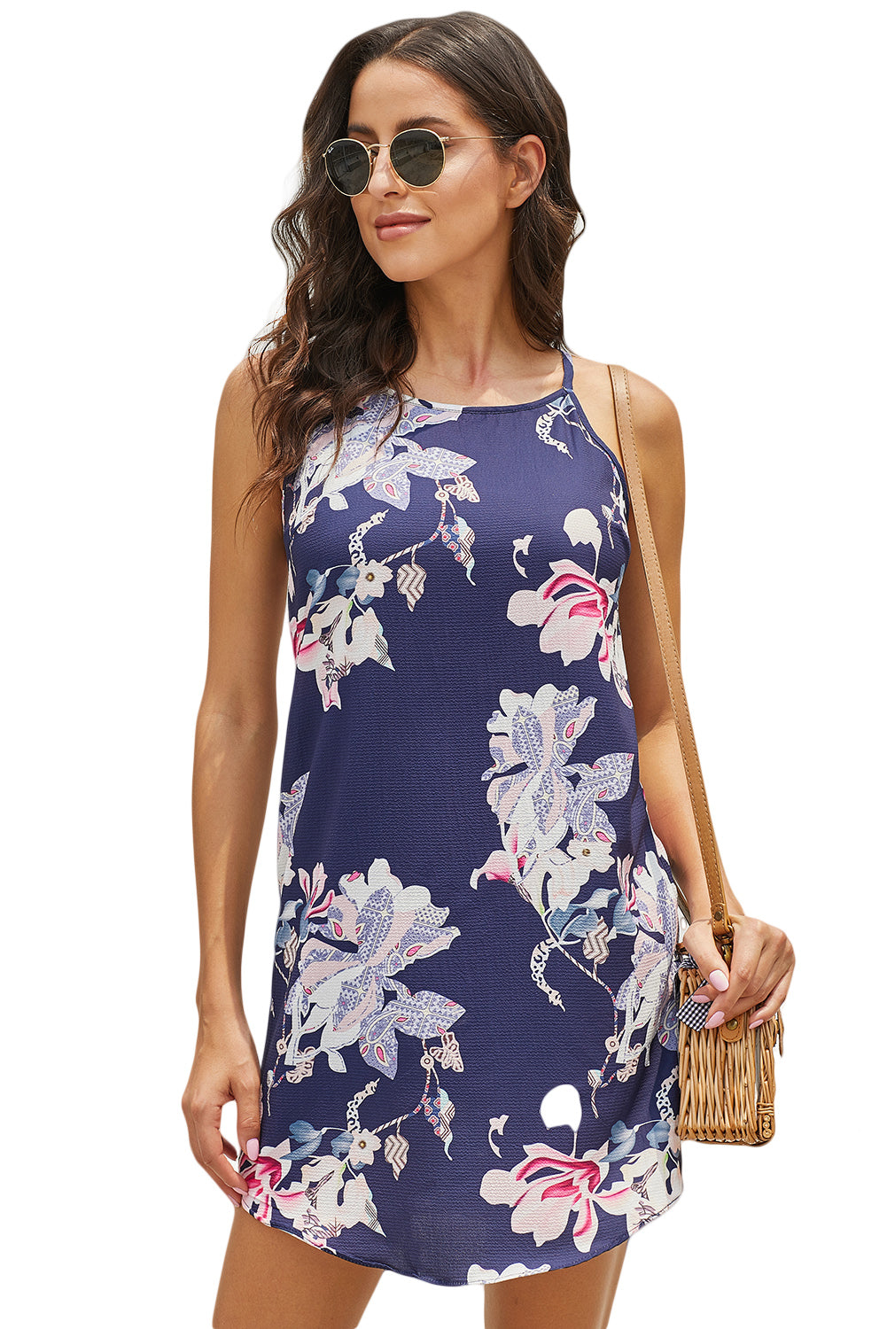 Boho Blue Sleeveless Her Fashion Summer Floral Print Mini Dress