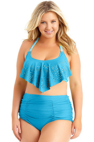 Braided Strap Blue Allure Plus Size Laser Cut Flounce Beach Swimwear