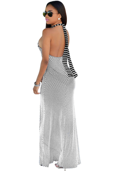 Breton Stripes Beach Halter Her Flattering Maxi Dress