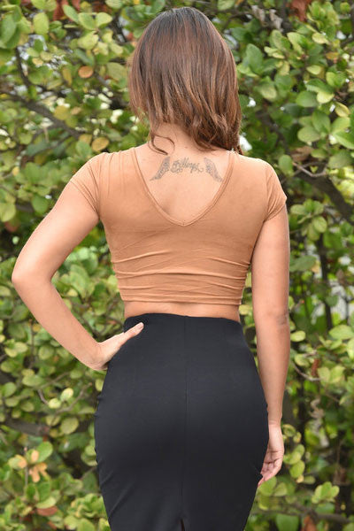 Brown Lace Up Front Faux Suede HisandHerFashion Crop Top