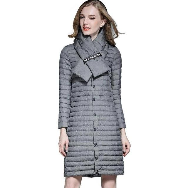 Outdoor Winter Jacket Lightweight Thin White Duck Down Womens Coat