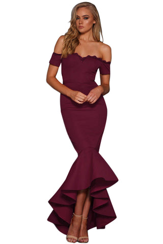 Red Lace Trim Her Fashion Off Shoulder Chic Mermaid Party Dress