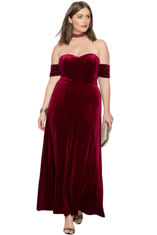 Burgundy Sweetheart Bandeau Off Shoulder Plus Size Velvet Party Gown
