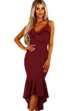 Burgundy V Neckline Frill Fishtail Her Fashion Evening Party Dress