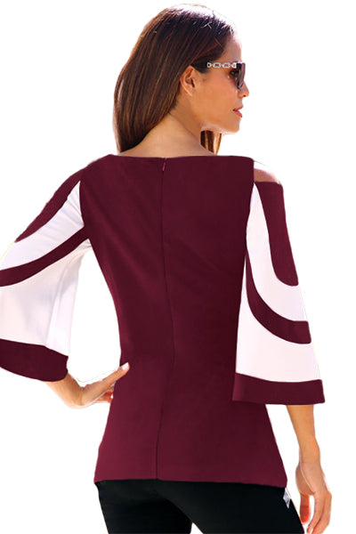 Burgundy White Bell Sleeve Her Fashion Cold Shoulder Modern Top