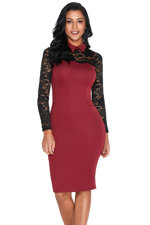 Oilve Lace Sleeve Doll Collar Bodycon Retro Her Fashion Midi Dress