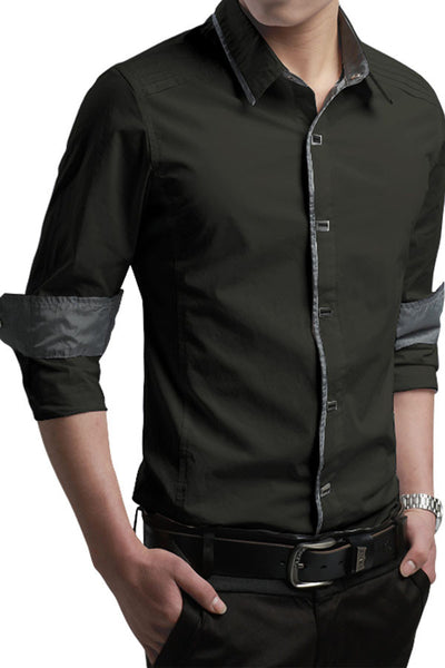 Button-Down Front  Modern Slim Fit Army Green Mens Shirt
