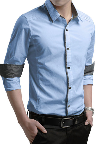 Button-Down Front  Modern Slim Fit Blue Mens Shirt