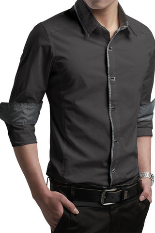 Button-Down Front  Modern Slim Fit Army Grey Mens Shirt