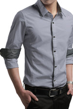 Button-Down Front  Modern Slim Fit Grey Mens Shirt