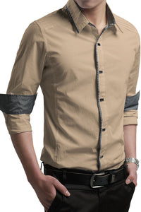 Button-Down Front  Modern Slim Fit Khaki Mens Shirt