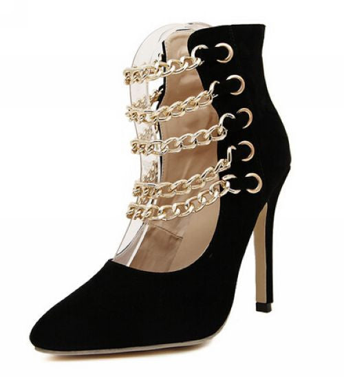Chic Lady Metal Chain Decorate High Heel Trendy Her Fashion