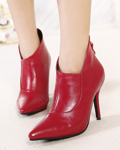 Classic Cusp Toe Pure Color Chic Boots
