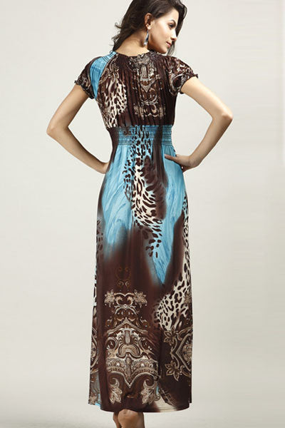 Coffee Blue Leopard Print Boho Chic Maxi Dress