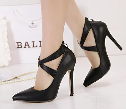 Cross Belt Pointed Toe Her Trendy High-Heeled Shoes