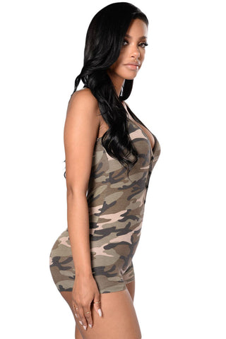 Camo Sleeveless Romper Shorts Her Chic Jumpsuit