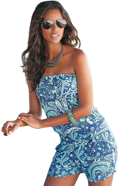 Casual Blue Strapless Her Fashion Floral Print Romper Overall