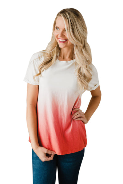 Casual Chic Her Fashion Dipped Ombre Yellow Tie Dye Shift Tee