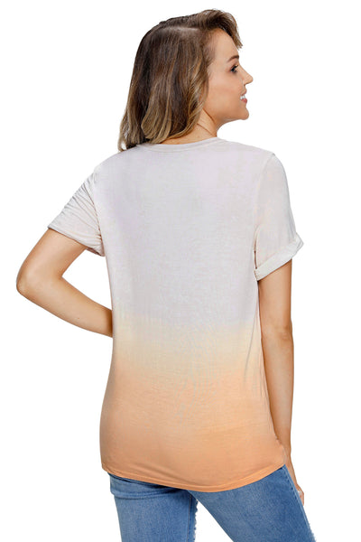 Casual Chic Her Fashion Dipped Ombre Grey Tie Dye Shift Tee