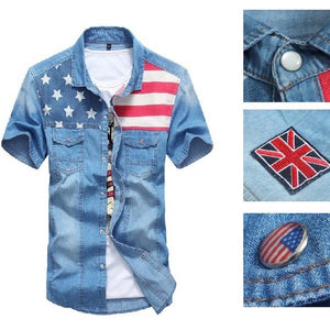 Casual Men Cotton Denim Shirt