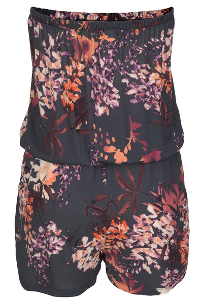Casual Purple Strapless Her Fashion Floral Print Romper Overall