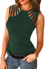 Charming Womens Shirts Multi-Strap Detail Her Fashion Casual Tank Top