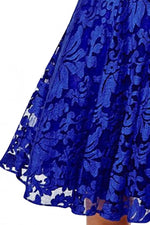 Charming Fairy Lovely Blue Floral Lace Skater Dress