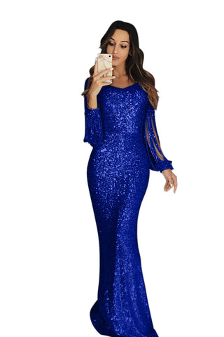 Charming HerFashion Blue Sequin Fringe Sleeve Party Maxi Evening Dress