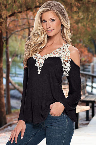 Chic Feminine Crochet Neck Sleeve Cold Should Black Top