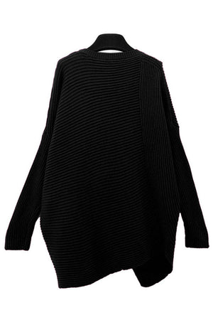 Chic Black Asymmetrical Pullover Sweater
